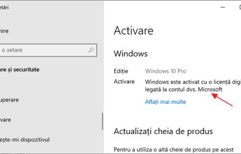 Activarea Windows 10 legata la contul Microsoft