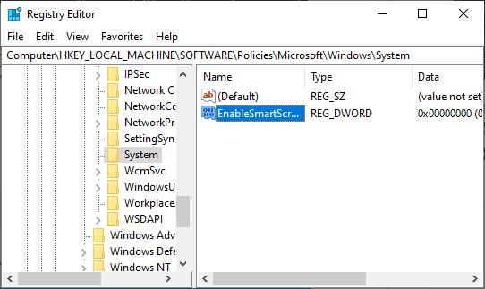 Dezactivarea SmartScreen in editorul de registru