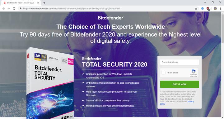 pagina cu promotii bitdefender total security 2020