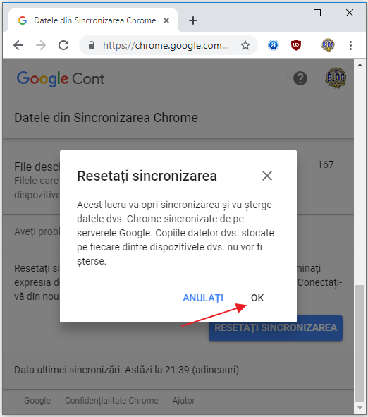opreste sincronizarea chrome