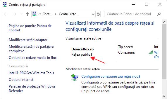 Retea publica Windows 10