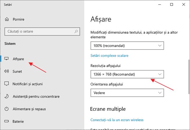 Schimba rezolutia ecranului in setarile Windows 10