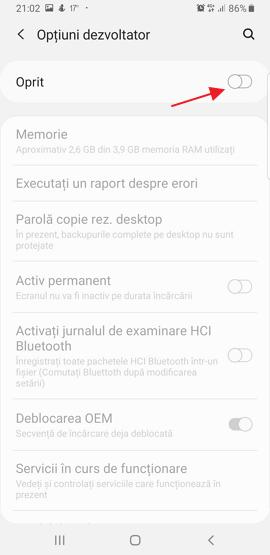 Meniu modul dezvoltator pe Android