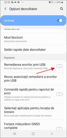 activeaza remedierea erorilor prin USB