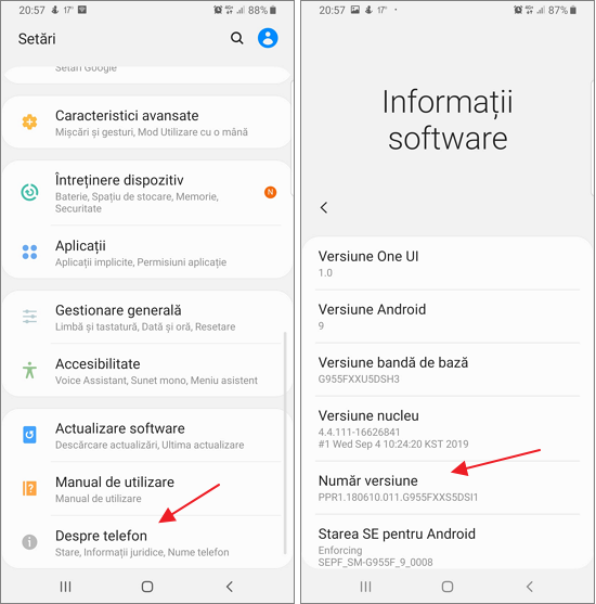 Deschide informatii despre dispozitiv Android