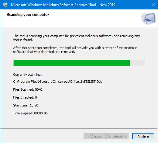 Scanarea in programul pentru eliminarea programelor periculoase Microsoft