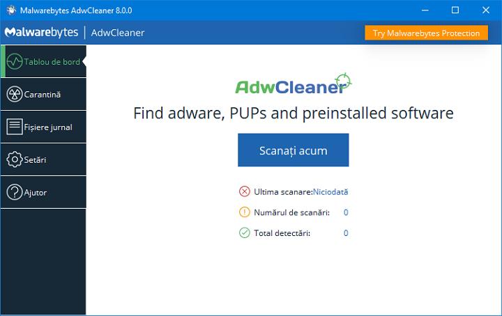 Eliminarea programelor periculoase in AdwCleaner