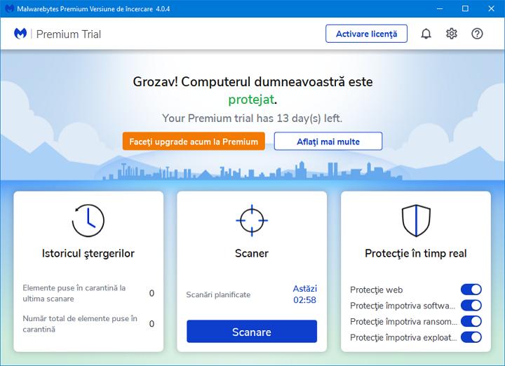 Fereastra principala Malwarebytes Free