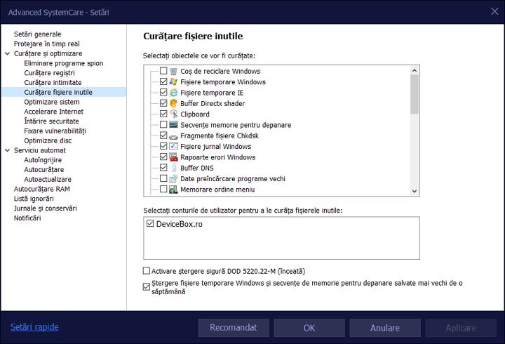Configurarea Advnaced SystemCare