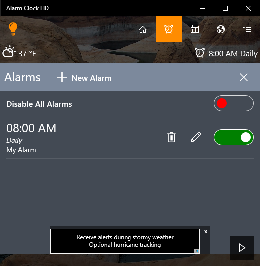 Aplicatia Alarm Clock HD