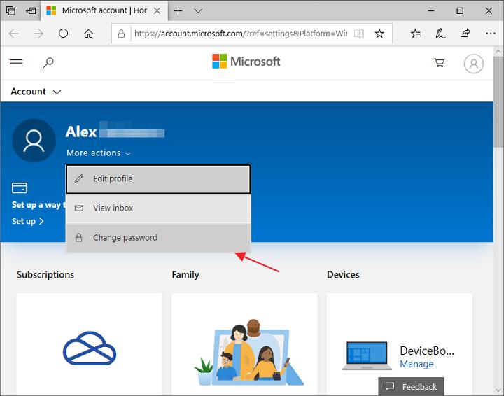 Schimba parola contului Microsoft