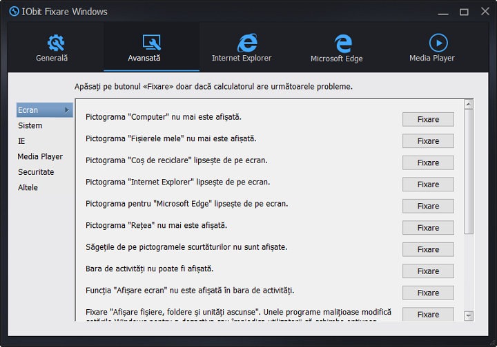 Remedierea erorilor in Windows 10 de la IObit
