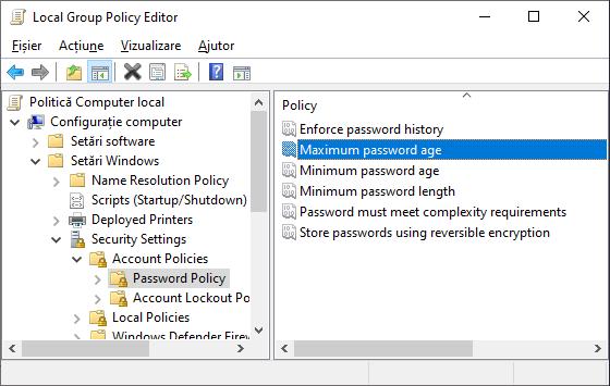 Politica parolei Windows 10