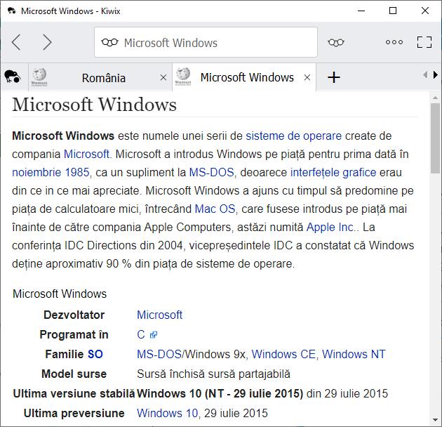 Citeste widipedia offline in Kiwix pentru Windows