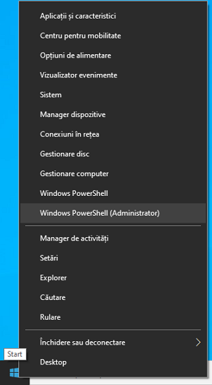 Porneste PowerShell din meniul contextual Start