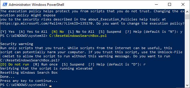 Rularea scriptului pentru a reseta cautarea Windows 10