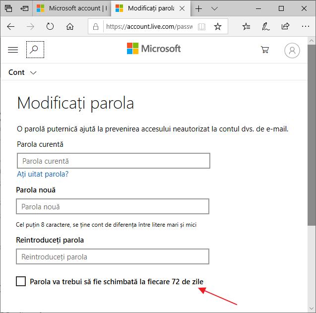 Seteaza data de expirare a parolei contului Microsoft