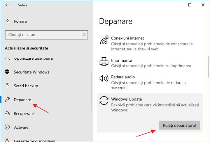 Instrument de depanare in setarile Windows 10