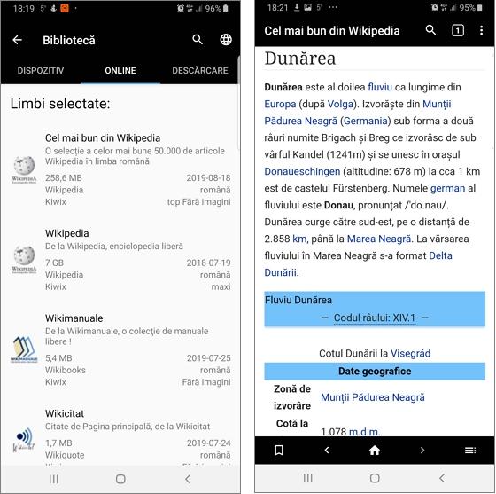 Wikipedia offline pentru Android