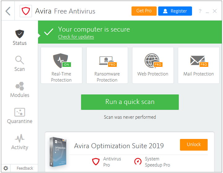 Cel mai bun antivirus complex: Avira Free Security Suite