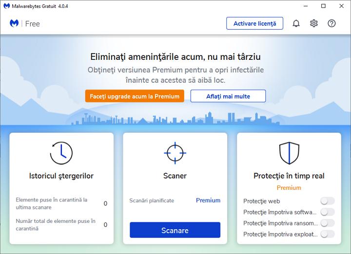 Cea mai buna solutie pentru eliminarea infectiilor active: Malwarebytes Free pentru Windows