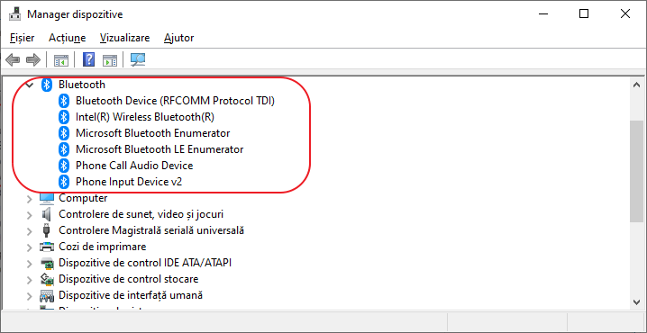 Detectare adaptor Bluetooh in manager dispozitive