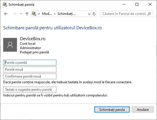 Parola noua Windows 10 in panou de control