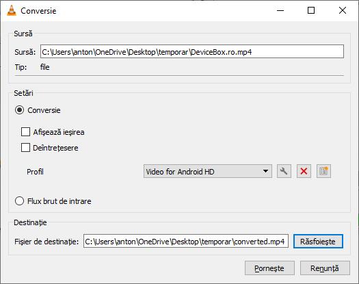 Configurarea formatului pentru conversie