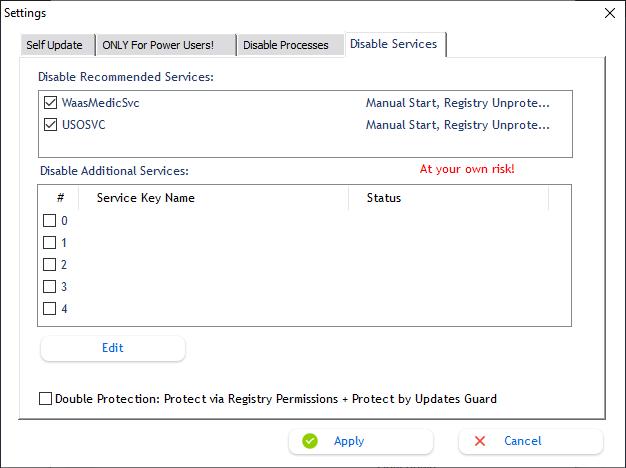 Dezactivarea serviciilor de actualizare