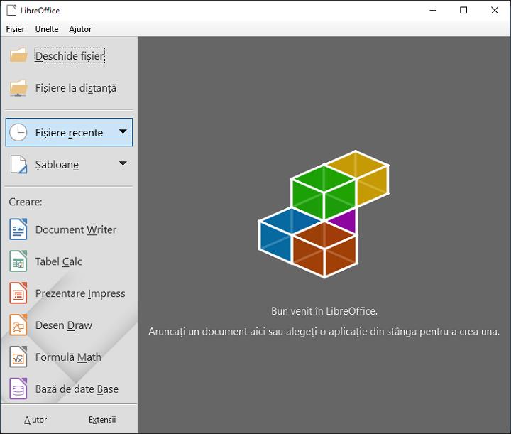 Fereastra principala LibreOffice