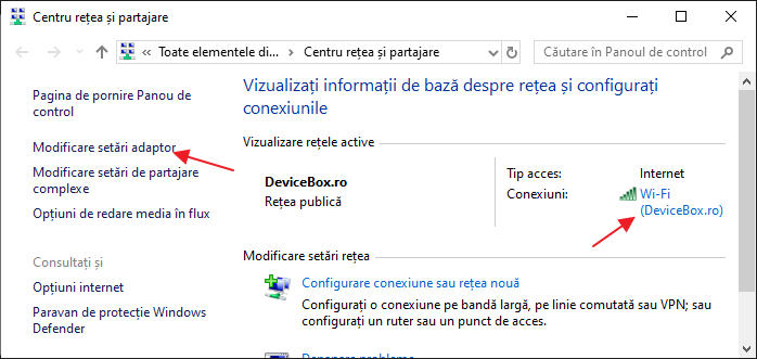 Centru de retea Windows 10