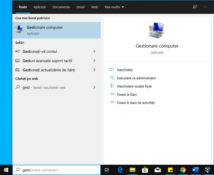 Deschide Gestionare computer Windows 10