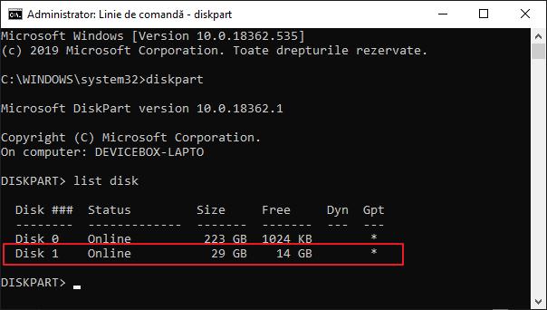 Selecteaza stick-ul in Diskpart