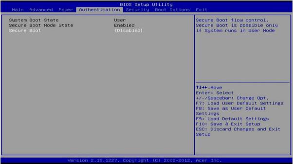 Dezactiveaza Secure Boot pe Acer