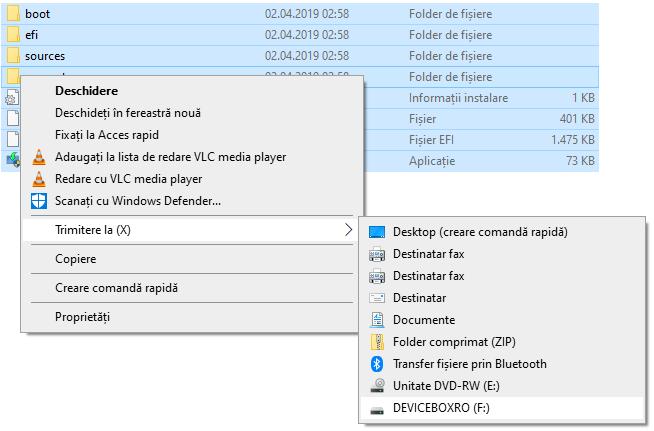 Copierea fisierelor Windows pe stick