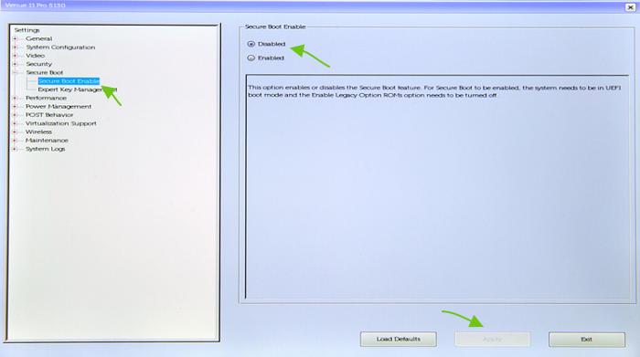 Dezactiveaza Secure Boot pe Dell