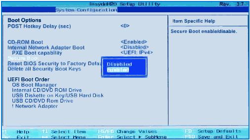 Dezactiveaza Secure Boot pe HP