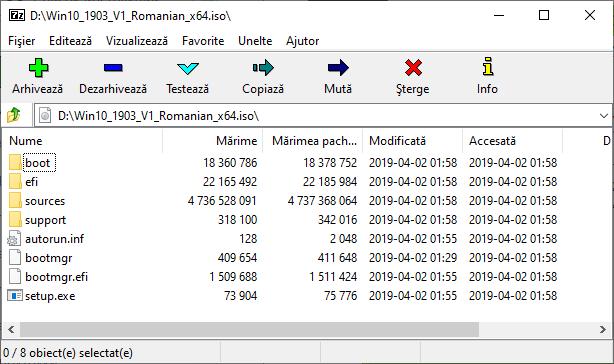 Imaginea Windows in arhivator 7Zip