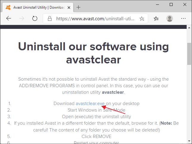 Utilitar pentru eliminarea antivirusului Avast