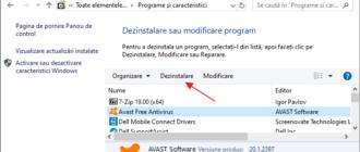 Eliminarea Avast in Panou de control