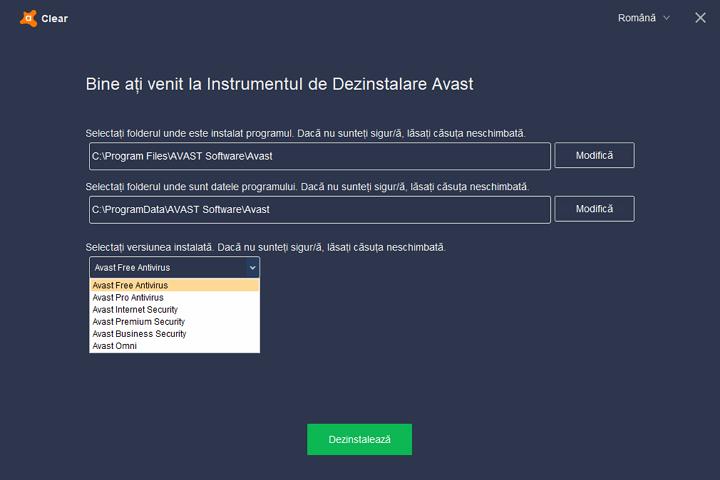 Eliminarea Avast in utilitarul Avastclear