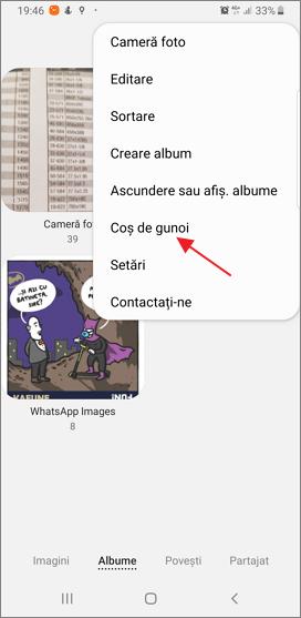 Cos de gunoi in aplicatia Galerie pe Android