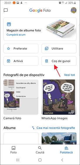 Cos de gunoi in aplicatia Google Foto