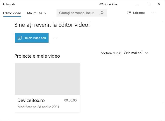 Creeaza un nou proiect video in Windows 10