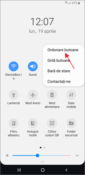 Modifica ordonarea butoanelor in zona de notificare Samsung