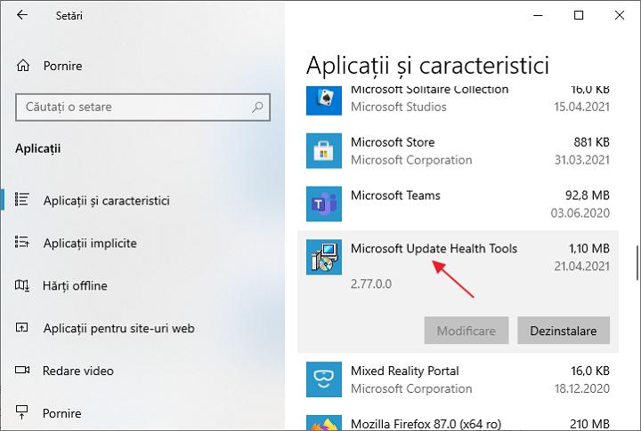 Microsoft Update Health Tools in lista aplicatiilor Windows 10