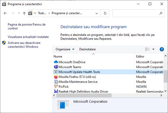 Dezinstalarea Microsoft Update Health Tools