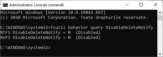 Functia TRIM activata pe SSD
