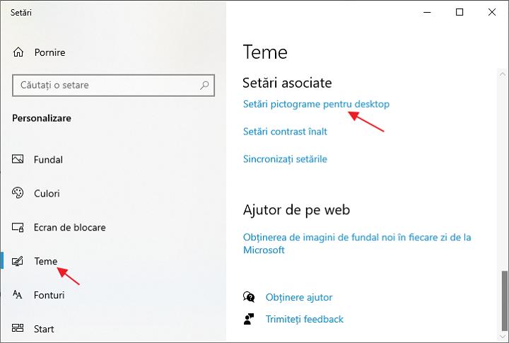 Setari pictograme pentru desktop Windows 10