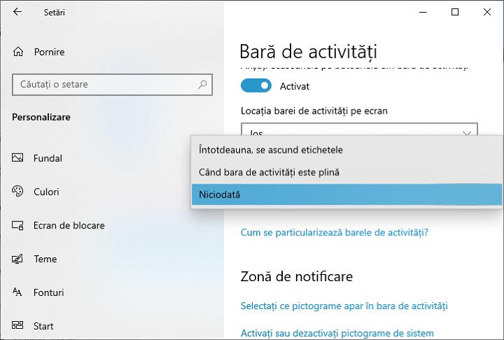 Optiunile de grupare a barei de activitati Windows 10
